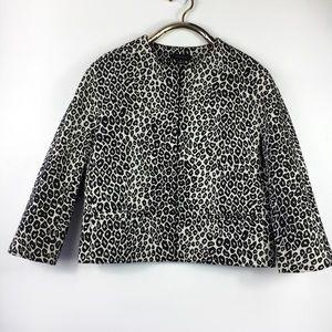 Ann Taylor Leopard Blazer Jacket Box Fitted M
